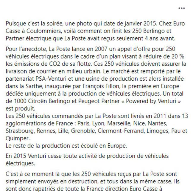 La légende du post Facebook viral sur les véhicules électriques de La Poste envoyés à la casse.