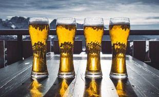 Illustration de bières devant les montagnes enneigées.