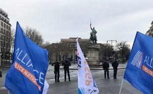 Entre 200 et 300 policiers se sont réunis devant le palais d'Iéna ce jeudi