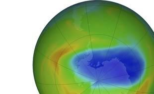 Image illustrant un trou dans la couche d'ozone au-dessus de l'Antarctique le 20 octobre 2019.