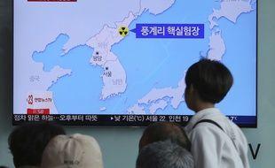 Une carte montre le site nucléaire nord-coréen de Punggye-ri, à la télévision sud-coréenne, le 13 mai 2018.