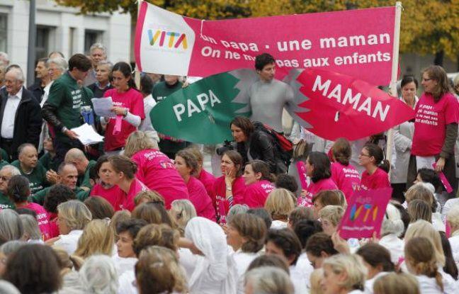 Manifestation d'opposants au mariage pour tous à Lyon le 23 octobre 2012