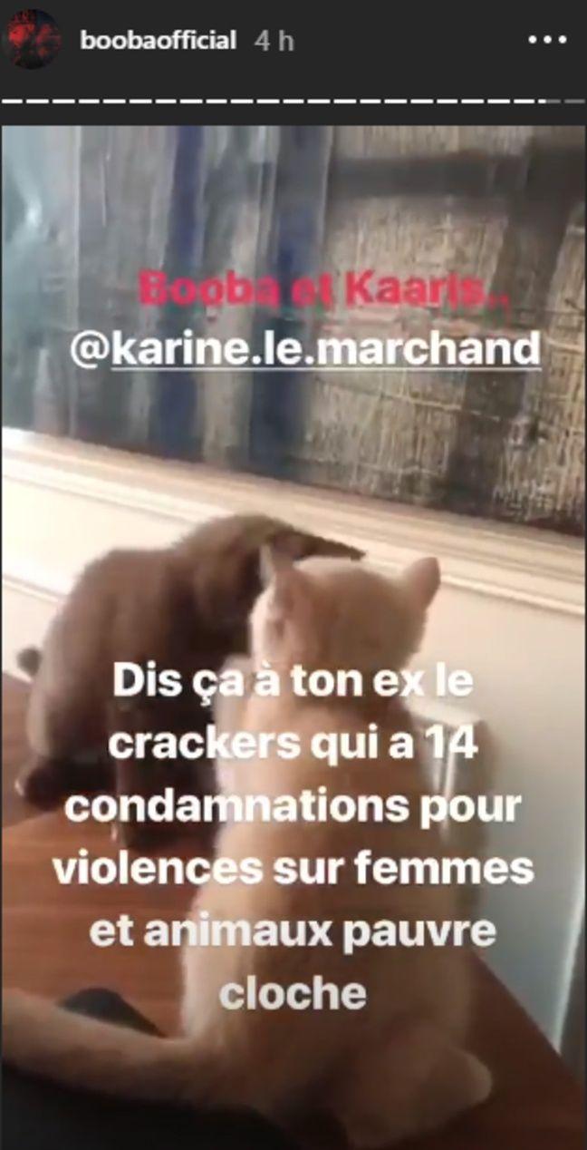 Booba a répondu à Karine Le Marchand dan sa story Instagram le 4 septembre 2018