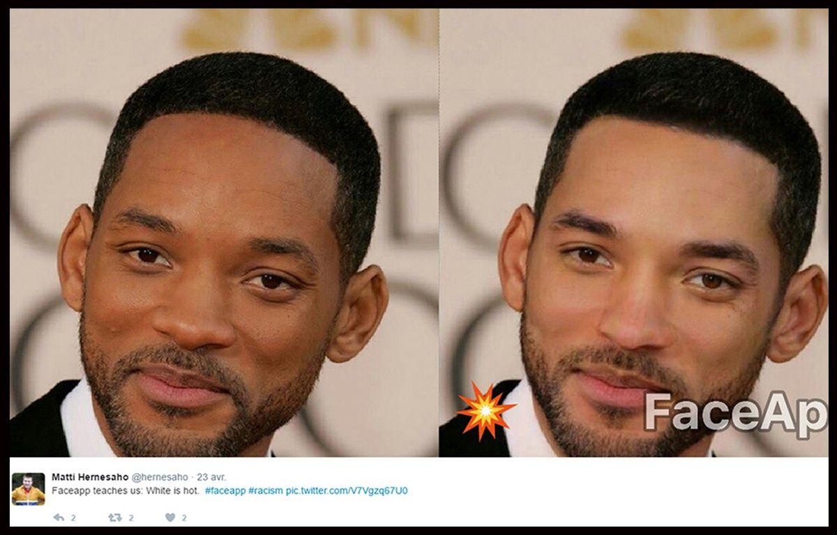 """L'appli Face App est accusée de racisme depuis le lancement du filtre """"hot"""", censé rendre beau, qui en réalité blanchit la peau et affine le nez des utilisateurs, comme ici en exemple avec Will Smith. – Twitter / Matti Hernesaho"""