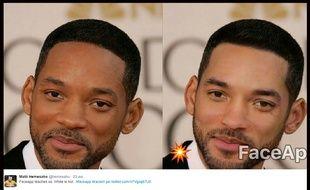 """L'appli Face App est accusée de racisme depuis le lancement du filtre """"hot"""", censé rendre beau, qui en réalité blanchit la peau et affine le nez des utilisateurs, comme ici en exemple avec Will Smith."""