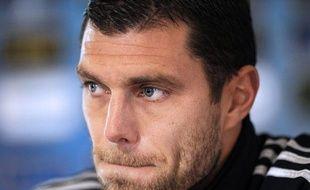 Le gardien de Lyon Rémy Vercoutre lors d'une conférence de presse le 20 février 2013.