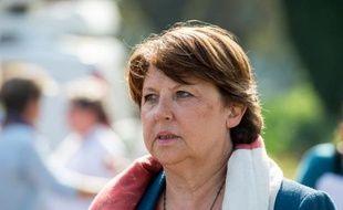 La maire de Lille Martine Aubry à une réunion de la Fédération PS du Nord le 13 septembre 2014 à Lomme