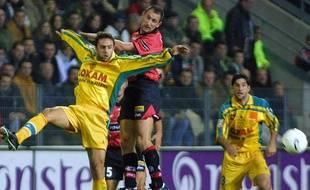 Christophe Le Roux sous le maillot rennais face au FC Nantes, en 2001.