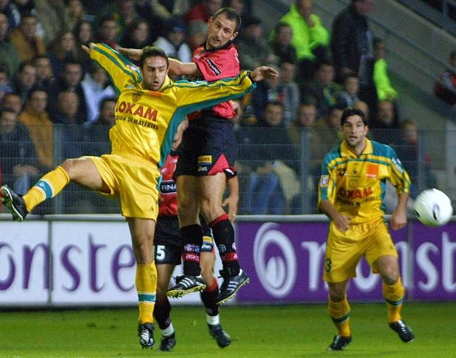 Christophe Le Roux, sous le maillot rennais, en 2001 face au FC Nantes.