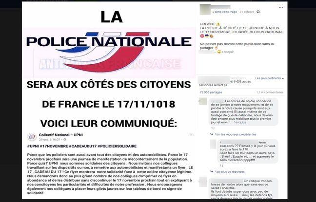 La police nationale n'a pas appelé à «être aux côtés» des citoyens le 17 novembre.