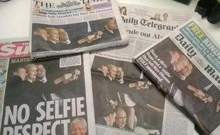 Le selfie de la cérémonie de Mandela fait la Une enGrande-Bretagne le11 décembre 2013.