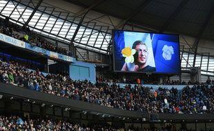 Une photo d'Emiliano Sala diffusée dans l'Etihad Stadium de Manchester City, le 10 février 2019.