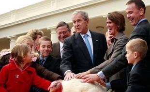 Le président américain George W. Bush, entouré d'enfants et de représentants de la Fédération Nationale de la Dinde gracie la dinde «Citrouille» lors de la cérémonie traditionnelle pour Thanksgiving, Washington, le 26 novembre 2008.