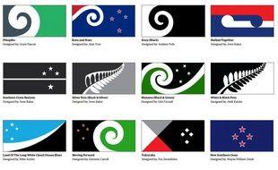 Une douzaine de motifs proposés pour le nouveau drapeau de la Nouvelle-Zélande.