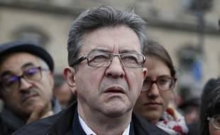 Le leader de La France insoumise, Jean-Luc Mélenchon, à Paris, le 1er mai 2017.