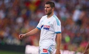L'attaquant de l'OM André-Pierre Gignac, lors d'un match amical contre Lens, le 25 juillet 2013 à Lens.