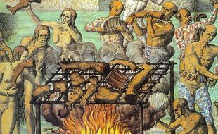 Scène de cannibalisme illustrée par Théodore de Bry (Belgique, XVI siècle)