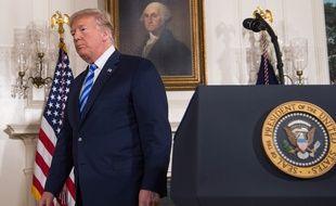 Donald Trump après l'annonce du retrait américain de l'accord sur le nucléaire iranien, à la Maison Blanche, le 8 mai 2018.