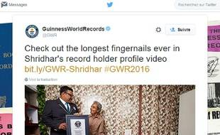 Shridlhar Chillal dans l'édition 2016 du Guinness Book des records.