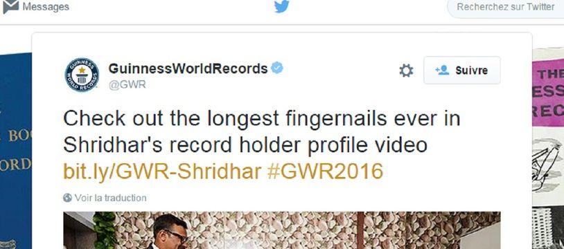 Shridlhar Chillal dans l'édition 2016 du Guinness Book des records.