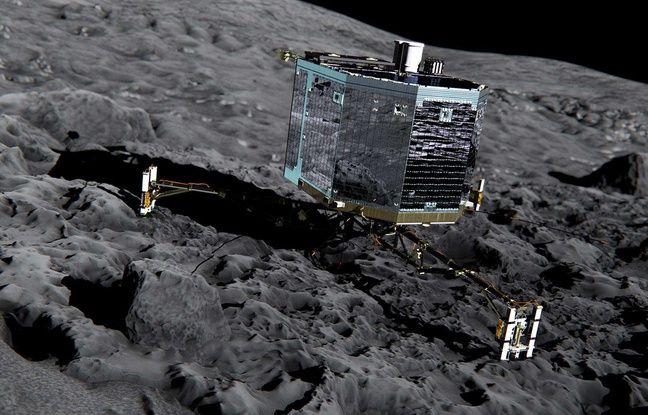 Vue d'artiste du robot Philae posé sur la comète Tchouri.