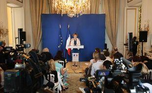 Muriel Pénicaud, la ministre du Travail, présente une partie du projet de réforme du code du travail à la presse le 28 juin 2017.