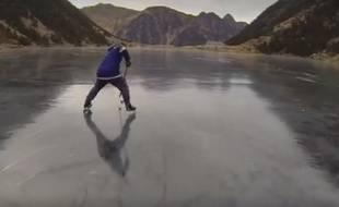 """La """"sortie patinoire"""" a eu lieu le 8 janvier sur le lac de Gaube, dans les Hautes-Pyrénées."""