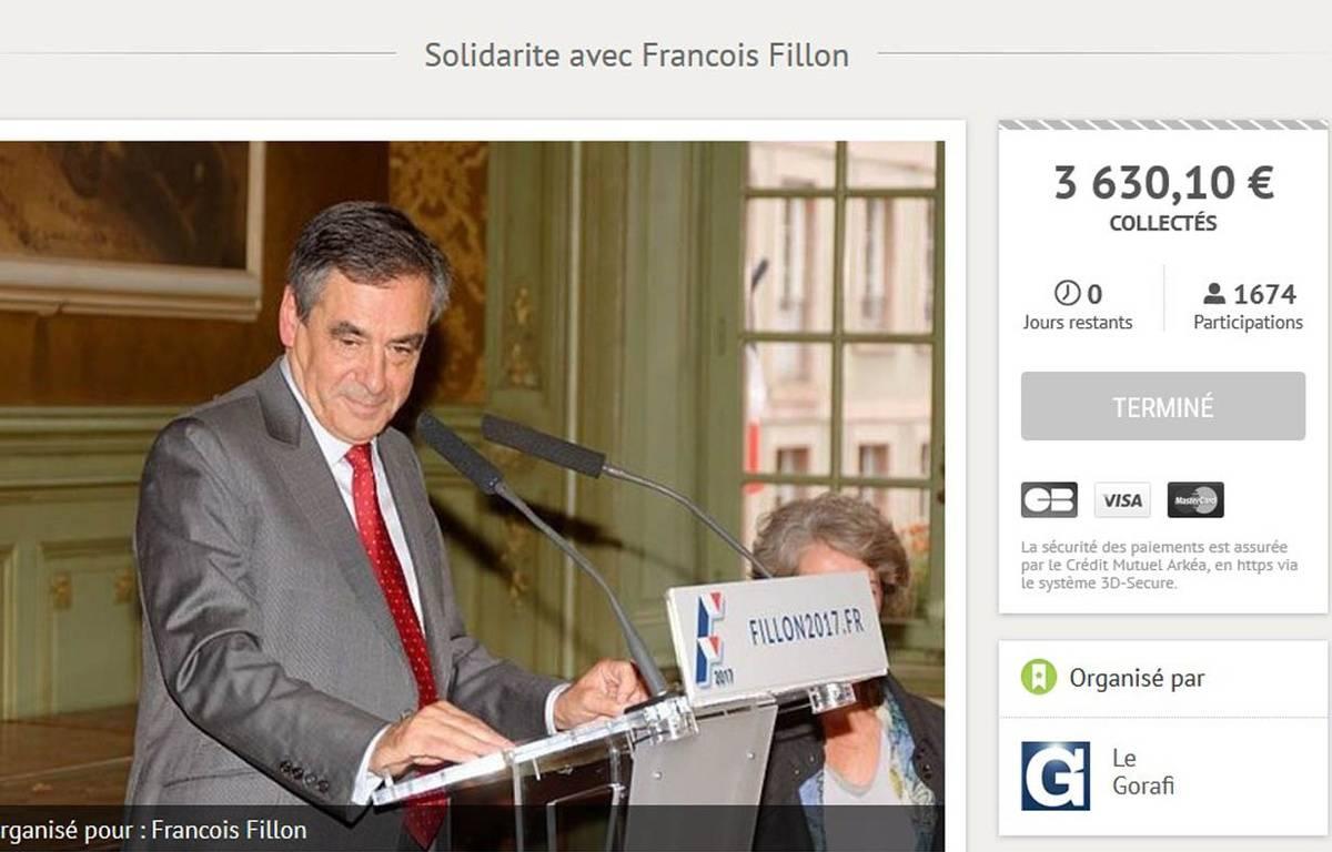 Capture de la cagnotte lancée par Le Gorafi au profit de Fillon (pour un total final de plus de 3.600€ reversé à des associations) –  Capture d'écran Leetchi.com