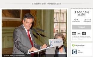 Capture de la cagnotte lancée par Le Gorafi au profit de Fillon (pour un total final de plus de 3.600€ reversé à des associations)