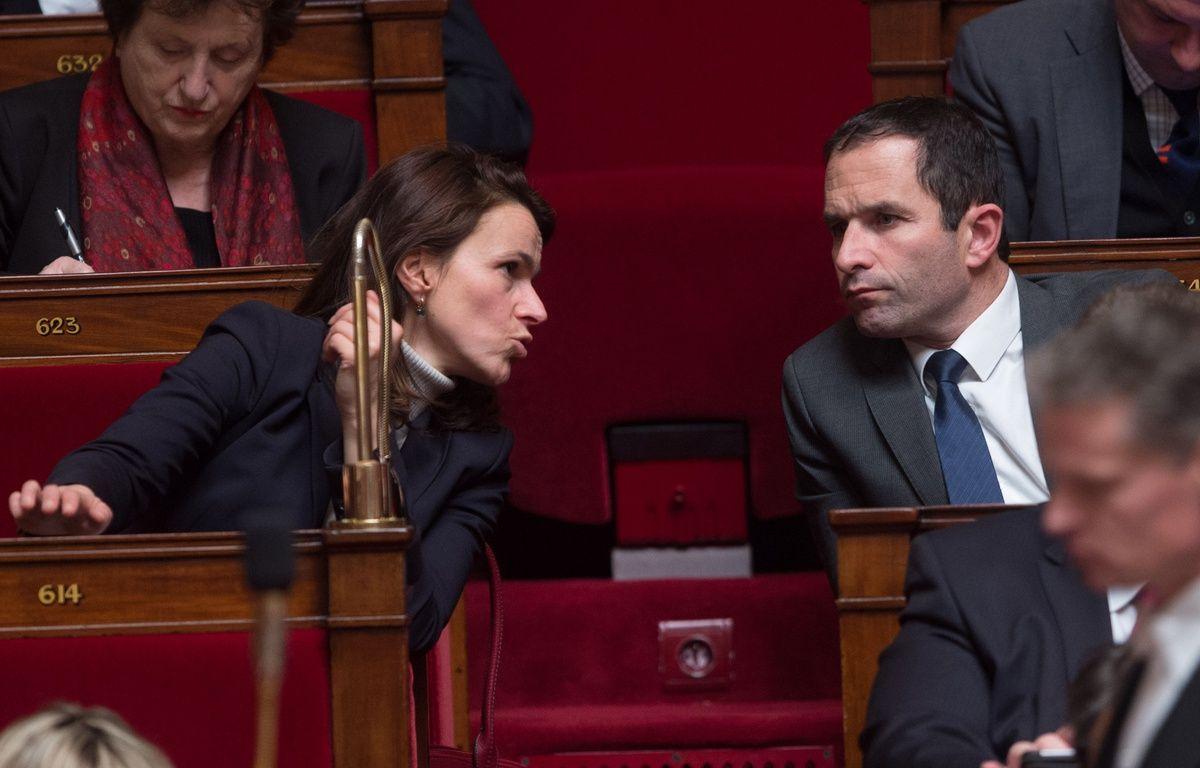 Aurélie Filippetti et Benoît Hamon sur les bancs de l'assemblée nationale, le 27 janvier 2015. – CHAMUSSY/SIPA