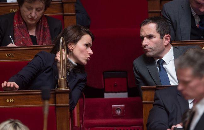 Aurélie Filippetti et Benoît Hamon sur les bancs de l'assemblée nationale, le 27 janvier 2015.