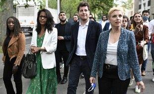 Audrey Pulvar, Julien Bayou et Clémentine Autain à Aubervilliers après l'annonce de leur union pour le second tour des régionales