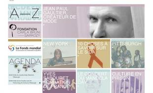 Capture d'écran du site Web de Carla Bruni Sarkozy carlabrunisarkozy.org, lancé le 5 octobre 2009.