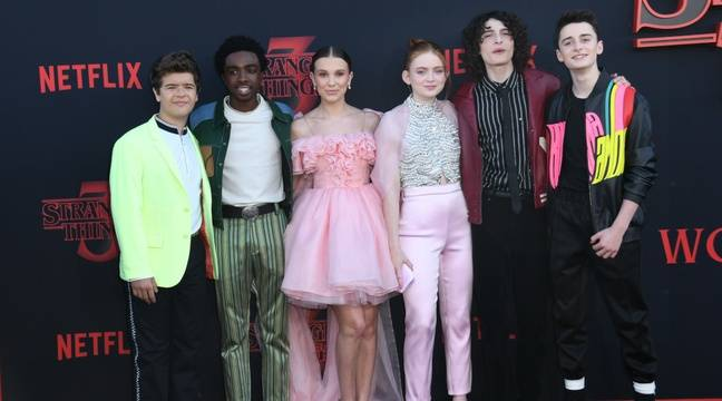 648x360 acteurs gaten matarazzo caleb mclaughlin millie bobby brown sadie sink finn wolfhard noah schnapp avant premiere stranger things 3 los angeles