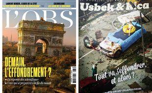 Couverture de L'Obs de ce jeudi et le numéro d'Usbek & Rica consacré à la collapsologie en 2018