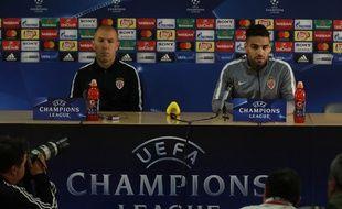 Leonardo Jardim et Radamel Falcao en conférence de presse à la veille du quart de finale retour entre Monaco et Dortmund, le 18 avril 2017 au Stade Louis-II.