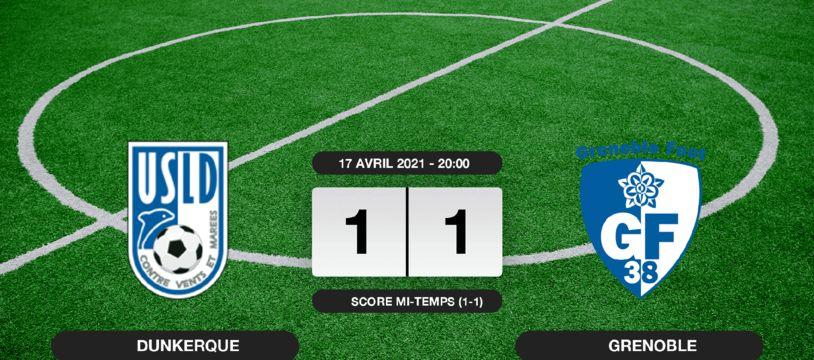 Ligue 2, 33ème journée: Match nul entre l'USL Dunkerque et Grenoble sur le score de 1-1