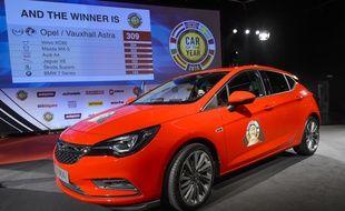 L'Opel Astra, élue voiture de l'année 2016 le 29 février 2016 à Genève.