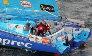Loïck Peyron et Jean-Pierre Dick, à bord de Virbac, le 31 décembre 2010