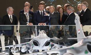 Emmanuel Macron a assisté au dévoilement d'une maquette esquissant les possibles traits du futur chasseur (NGF, Next Generation Fighter), au 53e salon du Bourget le lundi 17 juin 2019.