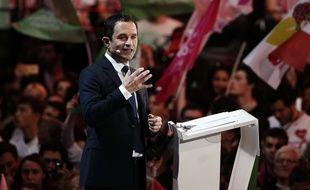 Benoît Hamon, lors de son meeting du 19 mars 2017 à Paris-Bercy.