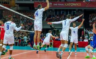 Les Volleyeurs français après leur victoire face à l'Iran, le 18 septembre 2014