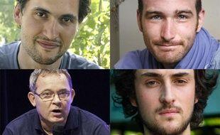 Les quatre journalistes français retenus en otages en Syrie. En haut : Pierre Torrès (à g.) et Nicolas Hénin (à d.), enlevés le 22 juin 2013 à Raqqa (nord). En bas : Didier François  (à g.) et   Édouard Élias (à d.), enlevés le 6 juin 2013 sur la route d'Alep.