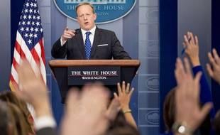Le porte-parole de la Maison Blanche Sean Spicer lors d'un point presse, le 21 février 2017.