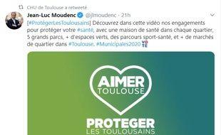 Le compte Twitter du CHU a retweeté un post du maire sortant LR, Jean-Luc Moudenc dans la nuit du dimanche au lundi.