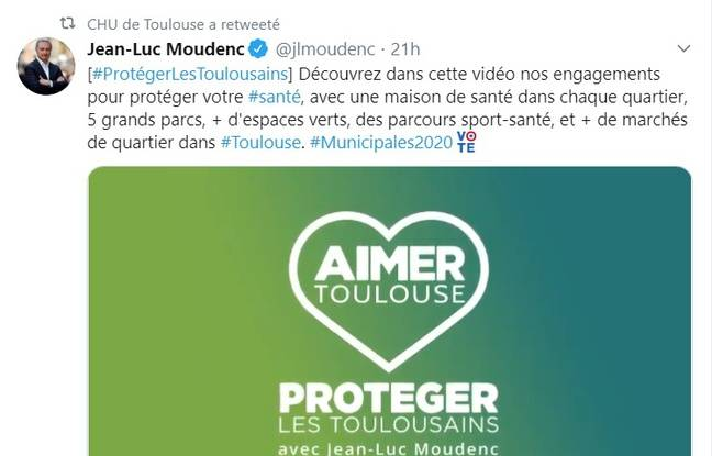 Municipales 2020 à Toulouse: Le CHU de Toulouse a-t-il retweeté un post du maire sortant en pleine campagne?