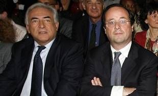 Dominique Strauss-Kahn et François Hollande lors d'un meeting à Paris, le 29 mai 2007.