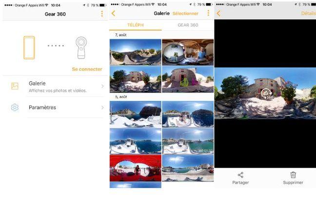 L'application Android et iOS de la Gear 360 reste simple d'accès.