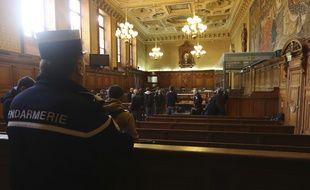 La cour d'assises spéciale du tribunal correctionnel Paris avant le début du procès de la filière djihadiste de Cannes-Torcy, le 20 avril 2017.