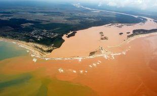 Vue aérienne du fleuve Rio Doce pollué après la rupture d'un barrage de déchets miniers, le 24 novembre 2015 à Regencia, dans l'Etat d'Espirito Santo, au Brésil